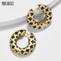 (in stock)1Pc Carved Geometric Pattern Block Enamel Huggie Earring