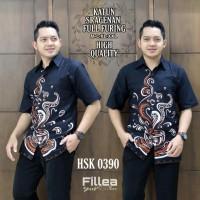 New Kemeja Hem Batik Solo Pria Lengan Pendek Motif Kopi Wedangan