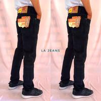 Celana Jeans Lea Pria Model Standar Black Hitam Pekat - 27
