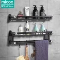 Micoe Rak kamar mandi rak handuk stainless steel hitam 2 tingkat 50cm