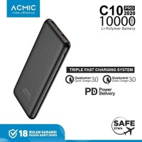 ACMIC C10PRO 10000mAh Powerbank Quick Charge 3.0 + PD Power Delivery - Micro USB 100cm
