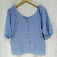 Atasan blouse wanita V-Neck lengan pendek
