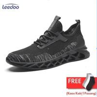 Leedoo Sepatu Olahraga Fashion Sneakers Casual Pria Abu Hitam MR206