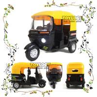 Mainan Diecast Bajaj Miniatur Bemo Best Tricycle Model Lampu Suara