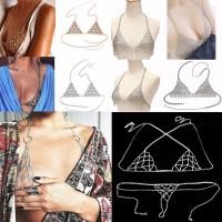 Bra/Bikini Halter Model Rantai Harness Bahan Alloy Warna Gold/Silver