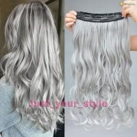 Grosir Fashion Silver Gray Curly Clip in Hair Extensions Grandma