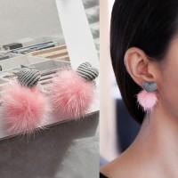 Anting Korea Love Shape Fabric PomPom Earrings J4U703