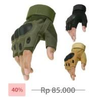 Sarung Tangan Tactical motor sepeda touring airsoft outdoor army half - Hijau