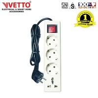 VETTO Stop kontak 4 Lubang 3 meter Full Universal SNI - V8204/3M+TB