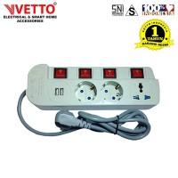 VETTO Stop Kontak MS4/3M Universal SNI & 2x 2.1A USB 3.0