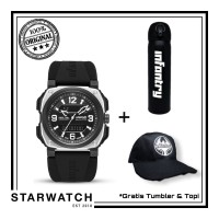 Jam tangan Pria Infantry Dual Timer REVO-AD-02 Silver-Black ORIGINAL