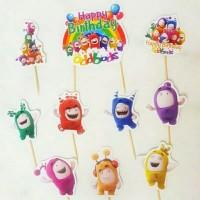 topper hiasan kue cake ulang tahun happy birthday karakter oddbods