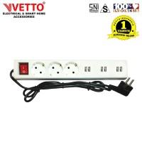 VETTO Stop kontak 6 Lubang 3 meter Full 6xUSB SNI - V8206/3M