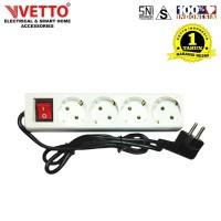 VETTO Stop kontak 4 Lubang 3 meter Full SNI - V8204/3M
