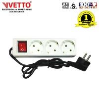 VETTO Stop kontak 3 Lubang 1.5 meter Full SNI - V8203/1.5M