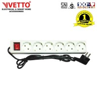 VETTO Stop kontak 6 Lubang 5 meter Full SNI - V8206/5M