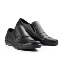 Sepatu Casual Pria Kulit asli formal santai Slip On simpel 108 HT - Hitam, 39