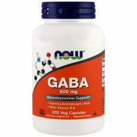 Now Foods GABA 500 mg 200 Veg Gamma Aminobutyric Acid Nervous support