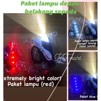 Paket lampu depan dan belakang sepeda/ Lampu sepeda/ aksesoris Gowes - Merah