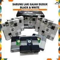 Sarung Gajah Duduk BLACK & WHITE / HITAM PUTIH Satuan/Grosir - Random
