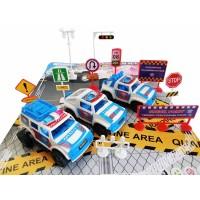 Set Mainan 3 pcs Mobil Polisi dan Miniatur Rambu Lalu Lintas