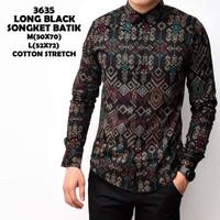 Kemeja Batik Pria Slimfit Lengan Panjang Cotton Stretch M L XL 6462