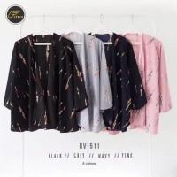 Maika cardigan kimono motif outer wanita size fit XL bahan twiscone