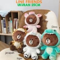 Ready Boneka Line Friends brown 25cm karakter jerapah pig tiger