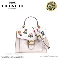 Coach Tabby Top Handle 20 In Signature With Floral Embroidery Original