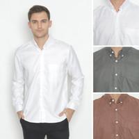 Kemeja Linen Polos Premium Lengan Panjang - Textured Shirt by Elegra