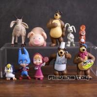 Marsha And The Bear Figure Set 10 / Topper Cake Pajangan Kue Masha