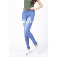Celana Jeans Highwaist Panjang Skinny Wanita Blue Spray - No Brand