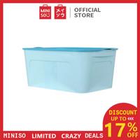 MINISO Kotak Penyimpanan Storage Box Container Organizer Tempat Baju - Biru Muda, S