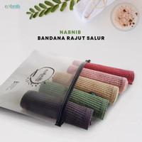 Nabnib Ciput Bandana rajut premium / inner hijab / Motif salur / Ciput - Hitam