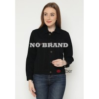 Jacket Jeans Wanita Cewek Bahan Denim Tebal Hitam - no brand