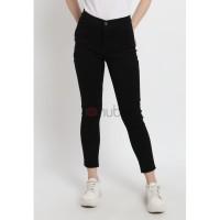 Nuber Celana Panjang Jeans Highwaist Wanita Black Stretch - Abelia