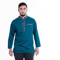 baju muslim baju muslim koko baju koko lengan panjang warna navy - tosca, XXL