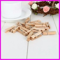 20 Pcs Jepitan Kayu Polos Wooden Clip Coklat