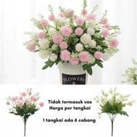 1 Tangkai Bunga Artificial Shabby Plastik Palsu Dekorasi Putih/Pink - Pink
