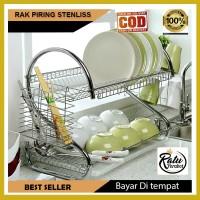 Rak Piring 2 Susun Stainless Minimalis - Dish Drainer