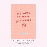 Moon Pancake Mini Art Print / Postcard - It's Okay to Make Misteakes