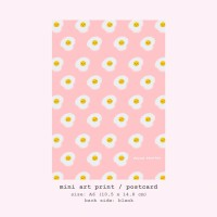 Moon Pancake Mini Art Print / Postcard - Pink Sunny Side Up