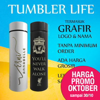 Tumbler Custom Logo Nama Botol Promosi Grafir Laser, LIFE Sakura