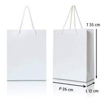 Paper Bag Ivory 210 gr - Talikur (Putih Polos) (ukuran: 26x12x35 )
