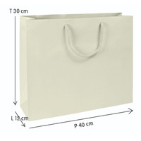 Paper Bag Ivory 210 gr - Talikur (Putih Polos) (ukuran: 40x12x30 )