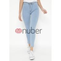 Nuber Celana Panjang Jeans Highwaist Wanita Blue Wash Stretch - Abelia