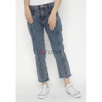 Celana Panjang Wanita Jeans Boyfriend Snow Navy Gold Stretch - Jasmine