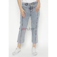 Celana Panjang Wanita Jeans Boyfriend Grey Snow Non Stretch-Crocus