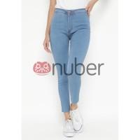 Nuber Celana Panjang Jeans Highwaist Wanita Blue Stretch - Abelia