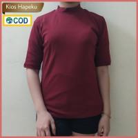 (G12) Kaos Atasan Wanita / T-shirt High Neck Lengan 3/4 Import Cotton